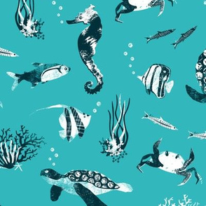 Ocean life - turquoise graphic