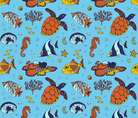 aquatic_animals_print fabric by katebartholomew on Spoonflower - custom fabric