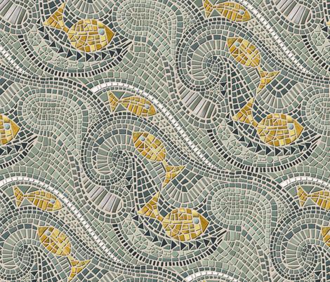 mosaic fish fabric by scrummy on Spoonflower - custom fabric
