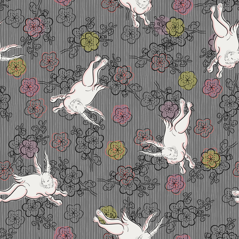 White Rabbit on grey fabric by susiprint on Spoonflower - custom fabric