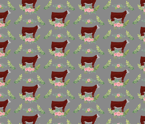 Showstock & Roses - Hereford Steers  *NEW SMALLER REPEAT fabric by thecraftyblackbird on Spoonflower - custom fabric
