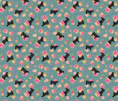Showstock & Roses - Tumbling Cattle Steer Cow fabric by thecraftyblackbird on Spoonflower - custom fabric