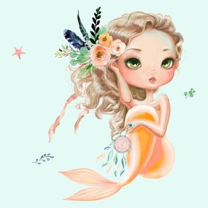 "8"" Peach Mermaid / Teal COLOR  Background"