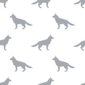 German Shepherd silhouette dog fabric white grey