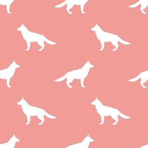 German Shepherd silhouette dog fabric sweet pink