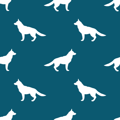 German Shepherd silhouette dog fabric sapphire fabric by petfriendly on Spoonflower - custom fabric