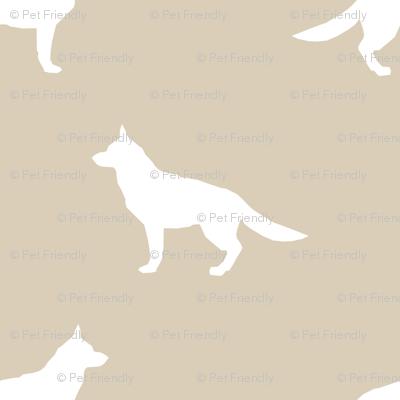 German Shepherd silhouette dog fabric sand