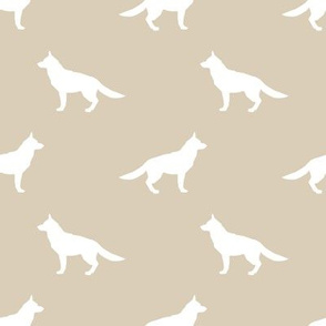 German Shepherd silhouette dog fabric sand