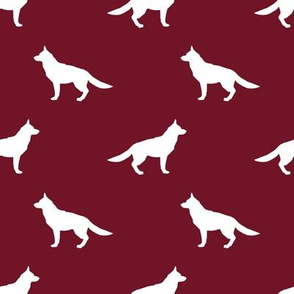 German Shepherd silhouette dog fabric ruby