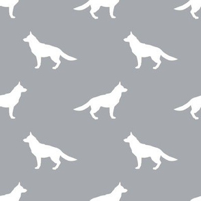 German Shepherd silhouette dog fabric quarry
