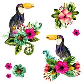 "8"" Floral Toucan / WHITE"