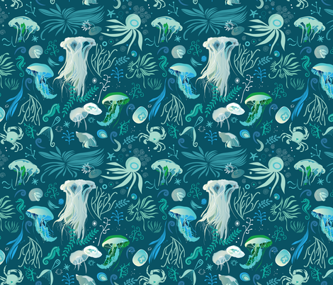 aqua pattern fabric by camcreative on Spoonflower - custom fabric