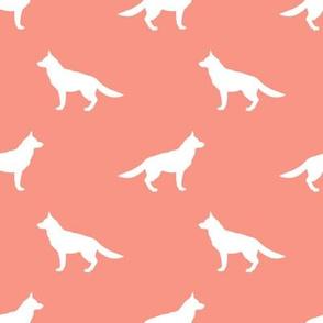 German Shepherd silhouette dog fabric peach