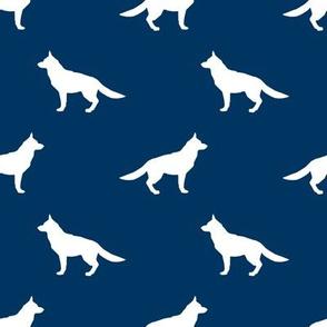 German Shepherd silhouette dog fabric navy