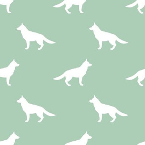 German Shepherd silhouette dog fabric mint