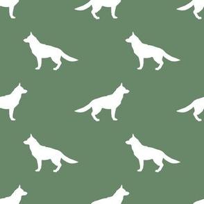 German Shepherd silhouette dog fabric medium green