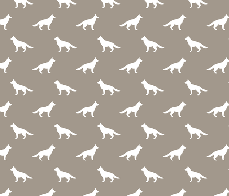 German Shepherd silhouette dog fabric medium brown fabric by petfriendly on Spoonflower - custom fabric