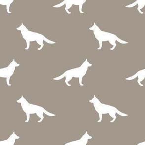 German Shepherd silhouette dog fabric medium brown