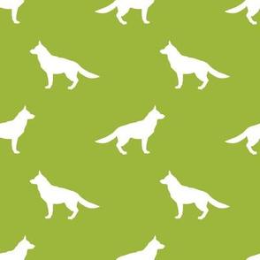 German Shepherd silhouette dog fabric lime