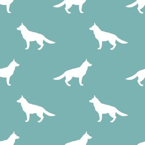 German Shepherd silhouette dog fabric gulf