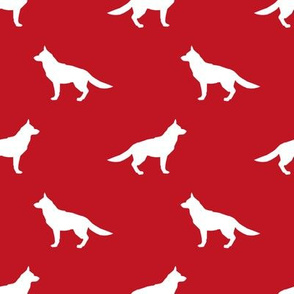 German Shepherd silhouette dog fabric fire red