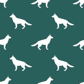 German Shepherd silhouette dog fabric eden