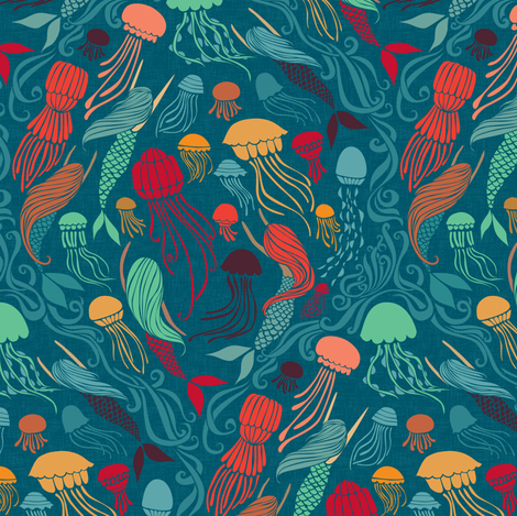 Mermaids and Jellyfish - Aurelia fabric by ceciliamok on Spoonflower - custom fabric