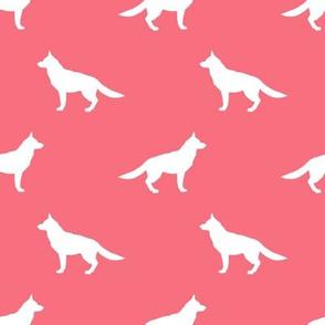German Shepherd silhouette dog fabric brink pink
