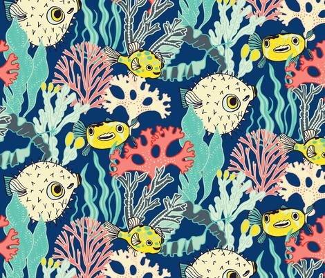Pufferfish & Coral fabric by aimeelouiseillustration on Spoonflower - custom fabric