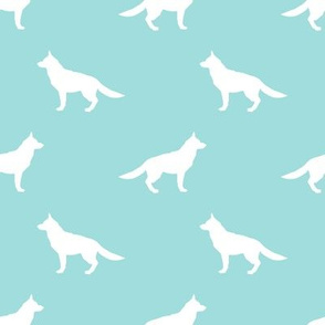 German Shepherd silhouette dog fabric blue tint