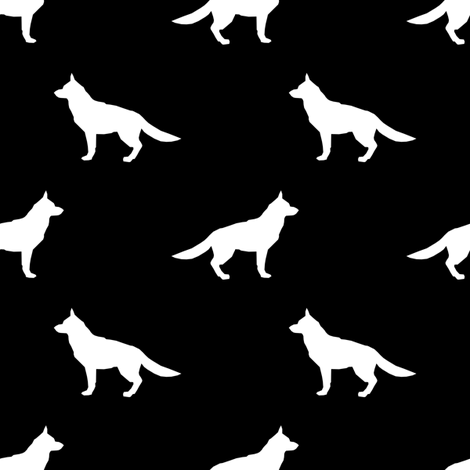German Shepherd silhouette dog fabric black and white fabric by petfriendly on Spoonflower - custom fabric