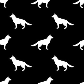 German Shepherd silhouette dog fabric black and white
