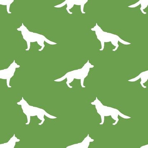 German Shepherd silhouette dog fabric asparagus