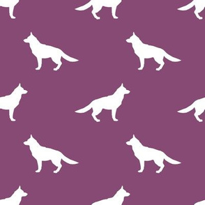 German Shepherd silhouette dog fabric amethyst
