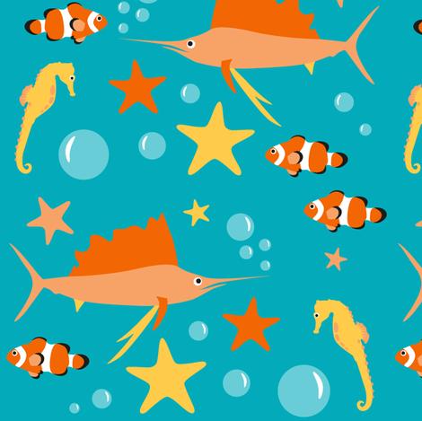 aquatic animals fabric by dafnag on Spoonflower - custom fabric