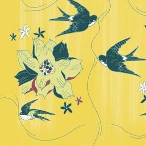 swallowsfabricyellowflowersSPOONFLOWER