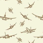 Plane Sketches // Beige & Dark Brown