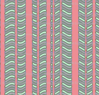 Pink and Lavender Stripes and Waves