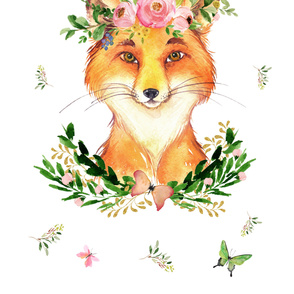 "Woodland Floral Fox in the Spring 54""x72"""