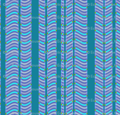 Teal and Purple Stripes and Waves