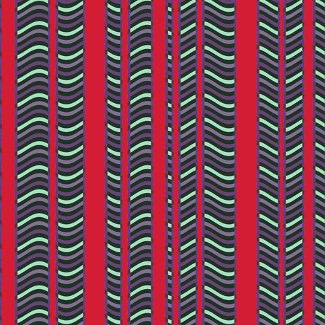 Red and Purple Stripes and Waves fabric by eclectic_house on Spoonflower - custom fabric