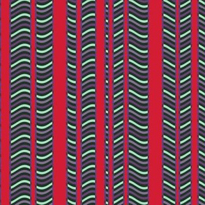 Red and Purple Stripes and Waves