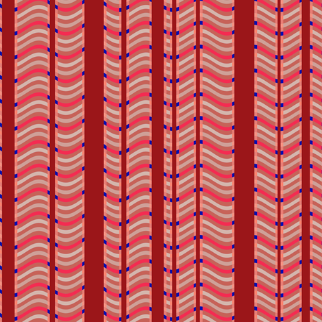 Red and Pink Stripes and Waves fabric by eclectic_house on Spoonflower - custom fabric