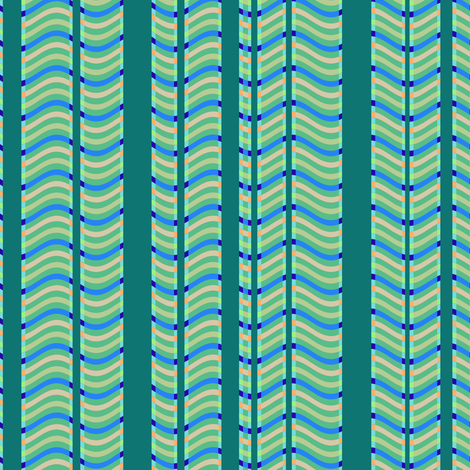 Teal and Green Stripes and Waves fabric by eclectic_house on Spoonflower - custom fabric