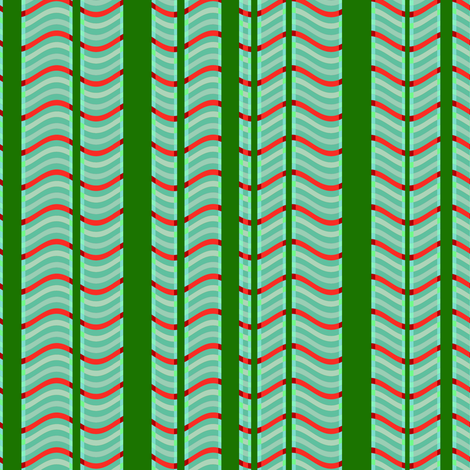 Green and Red Stripes and Waves fabric by eclectic_house on Spoonflower - custom fabric