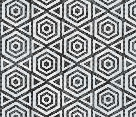 Hexagon Black and White Geometric  fabric by mariafaithgarcia on Spoonflower - custom fabric