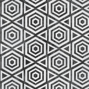 Hexagon Black and White Geometric