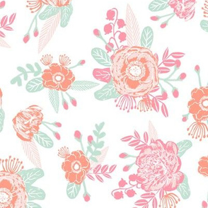 coral and pink florals fabric painted floral fabric girls room decor