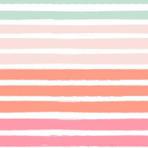 painter stripes pink coral and mint stripes fabric
