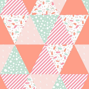 sophia triangle cheater quilt - coral mint and pink wholecloth cheater quilt fabric